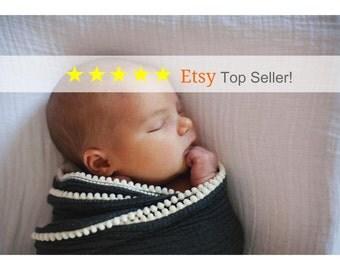 Baby Blanket / Swaddle blanket / Grey Pom Pom Swaddle Blanket/ Cotton Swaddle / Charcoal Blanket / Newborn Blanket / Newborn Baby Blanket