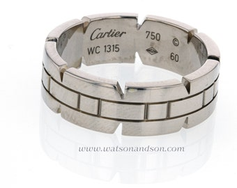 18K Cartier White  Gold Wedding Band.