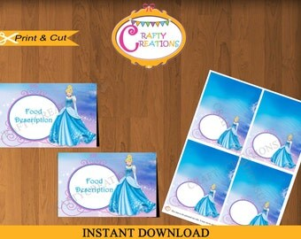 Instant Download - Cinderella Food Tent Cards - food Labels - Disney Princess -  Birthday - Party - Decorations - EDITABLE TEXT - PRINTABLE