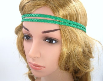 Green Boho Headband,Green Leather Braided Bohemian Tribal Hippie Halo Headband,Green,Double Strand,Girls Teen Women Men Adult Hair band