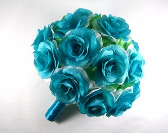 Turquoise Aqua Blue Wedding Bouquet,Blue Bridal Bouquet,Blue Bridesmaid Bouquet,Blue Silk Roses Bouquet,Brooch Bouquet,Blue Wedding Flowers