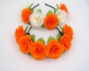 Orange Rose Headband,Orange Flower Headband,Orange Rose Crown,Orange Flower Crown,Girls Women Adult Hair band,Head Band,Boho Flower Headband