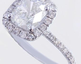 18k white gold cushion cut diamond engagement ring halo 2.10ctw I-VS2 GIA