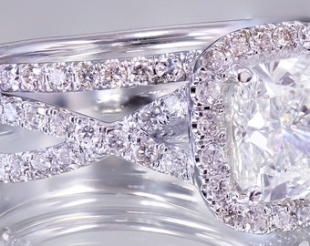 18k White Gold Cushion Cut Diamond Engagement Ring And Band 2.50ct H-VS2 GIA
