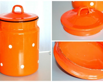 SALE !!!! Vintage Soviet enamel milk can, orange Polka Dot, Milk Jug,  Retro Kitchen Decor, USSR Enamelware