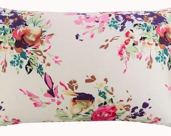 New 100% silk pillowcase with zipper bed pillow case zipper silk pillowcase zipper floral pillow sham standard queen king