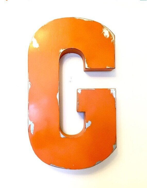 large galvanized metal letter wall letters by penelopemaydecor. Black Bedroom Furniture Sets. Home Design Ideas