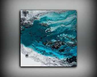 Blue Painting Square, Fine Art Prints Abstract Painting, Black Wall Decor Prints Wall Art Prints Contemporary Art Print 8 x 8 - 24 x 24