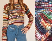 Womens 70s Hand Knit Rainbow Sweater XS | Small Cropped Sweater Crochet Top | Unique Multicolor 60s Handmade Sweater | Boho Chic Winter Tops