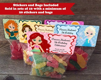 Princess Party Bags, Princess Party Favors, Frozen Birthday Favors, Ariel Party Bags, Cinderella Party Bags, Belle Party Bags, Tiana Bags