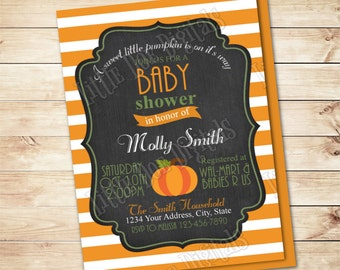 Personalized Sweet Little Pumpkin Baby Shower Invitation with back- Digital File - Fall Harvest Invitation - 5x7 or 4x6