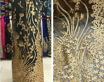 Bridal Lace trimming Gold Floral Embroidered Lace Fabric wedding lace Fabric French Lace Fabric