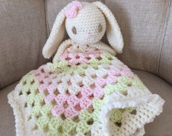 Crocheted sweet bunny lovey, baby gift, baby girl accessory, lovey blanket