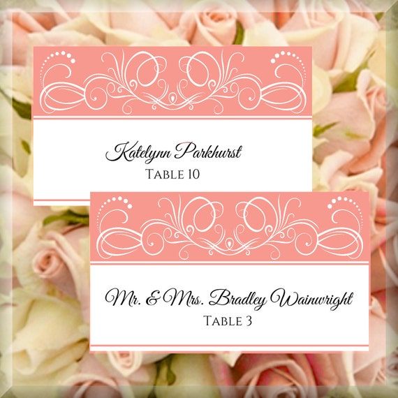 items similar to white coral swirls printable flat place cards editable template instant