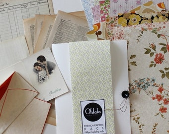 French papers Pack ( Wallpaper, Dictionary ) Sheets for Collage, Scrapbooking, and Crafts // C570