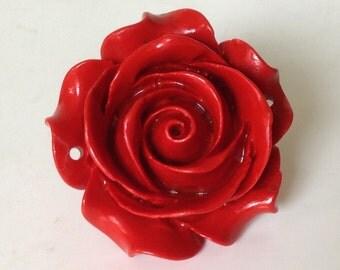 Large Polymer Clay Rose Pendant. Big Flower Pendant. Red Pendant. Floral Pendant