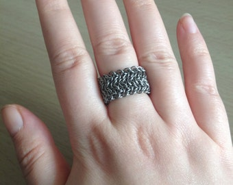"""Chainmaille Ring - Intricate Stainless Steel Ring - """"Elfsheet"""" Finger Ring"""