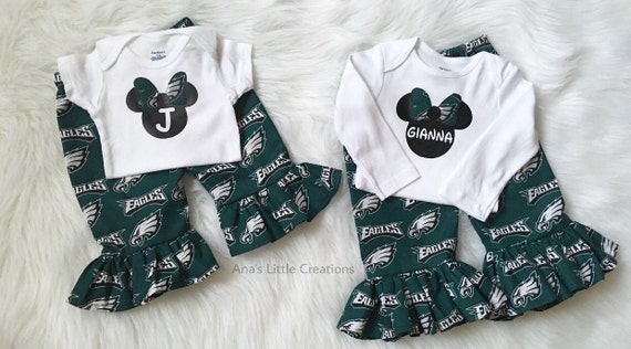 Philadelphia Eagles  Minnie Bodysuit with Name or Initial and Ruffle Pants Set, 2pc Bodysuit and Ruffle Pants Philadelphia Eagles
