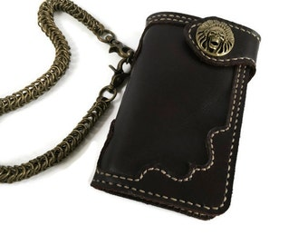 Men's leather chain wallet Skull men leather wallet bifold Dark brown rider wallet Biker wallet mens leather Biker wallet chain hand stitch