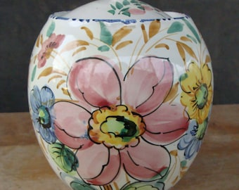 Vintage Italian Majolica Ceramic Art Pottery Lidded Canister Hand Painted Flowers Biscotti Biscuit Cookie Jar Made in Italy