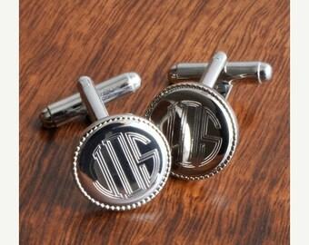 Groomsmen Gift - Personalized Cufflinks - Silver Round Beaded Cufflinks (202)