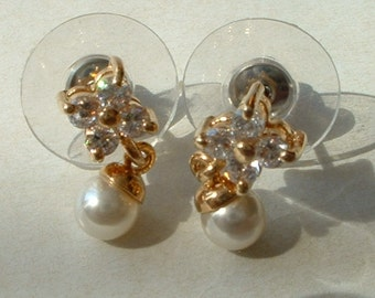 Rhinestone and faux pearl earrings