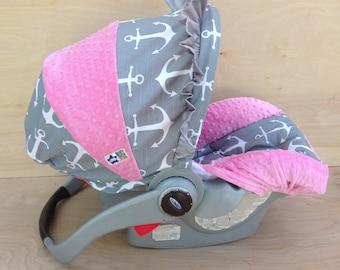 Infant Car Seat Cover- Grey Anchors/ Bubblegum Pink