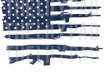 US Flag and Gun Second Ammendment SVG Cut File