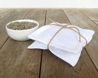 Set of 2 White Linen Lavender Sachets, Lavender Pillows, Organic Lavender, French Lavender, Bridal Party Gift, Gifts