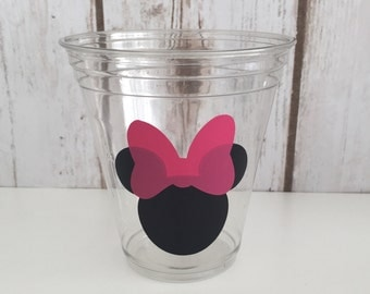 12 Minnie Mouse Party Cups- Hot Pink Bows, Minnie Mouse Birthday Cups, Mickey Mouse, Mickey Mouse Clubhouse, Baby Shower