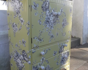 SOLD Tallboy with lifting lid in Green & Grey Floral