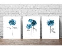 Hydrangea Clipart Flower Painting, set 3 Botanical Flowers Art Print, Hortensia Teal Blue Floral Wall Decor, Modern Minimalist Living Room