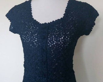 Vintage dress midnight blue knitted ribbon stretchy 1940's