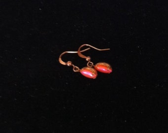 Pink and Gold Earings, Women's Gold Earrings, Ready to Ship, Vintage Style Jewelry