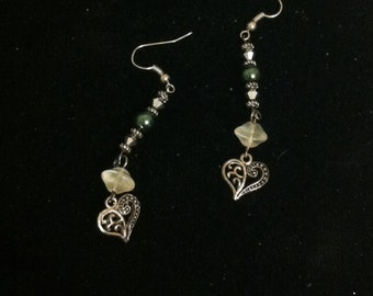 Silver Heart Charms and Green Bead Earrings, Green Beaded Jewelry, Silver Heart Charm, Heart Charm Beaded Dangle Earrings, Anniversary Gift