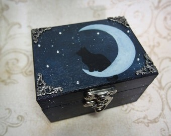 OOAK (one of a kind) cat and moon hand painted wooden trinket box