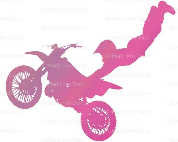 Motocross Pink Dirtbike Birthday - Edible Cake and Cupcake Topper For Birthday's and Parties! - D21773