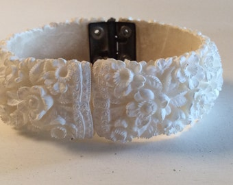 Vintage Carved White Celluloid Floral Clamper Bracelet