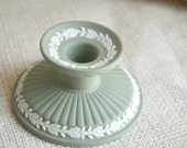 Wedgwood Green Jasperware Candlestick // Sage Green wedgwood Candle Holder // Vintage wedgwood candle stick