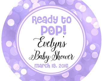Ready to POP - Baby Shower Personalized Sticker, Purple Sparkle Baby Label Party Favor Labels, Printed Labels