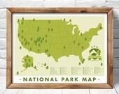National Park  Map, Print Outdoors Wall Art Hiking Art Print, Explorer map print, green home decor