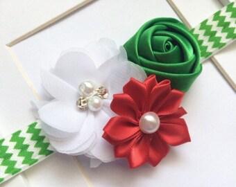 Holiday chevron headband,green chevron headband,holiday baby headband,christmas headband,baby christmas headband,newborn headband,infant