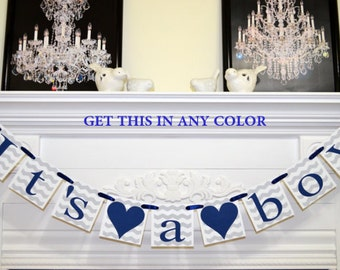 It's a Boy baby shower banner, Navy blue and gray chevron baby shower banner, sprinkle decorations, Navy chevron stripes baby boy banner