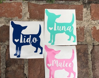 Personalized Chihuahua Name Decal | Yeti Decal | Mac Book Decal | Car Decal