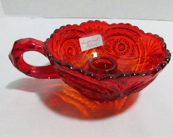 Imperial Glass taper candle holder red  amberina dish with loop handle Vintage 1970s