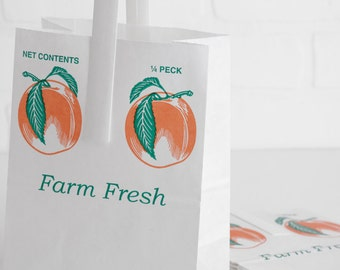 10 Genuine Orchard Fruit Bags, Paper Peach Bags with Handles for Wedding Favors, Treats, Goodie Bags, 1/4 Peck