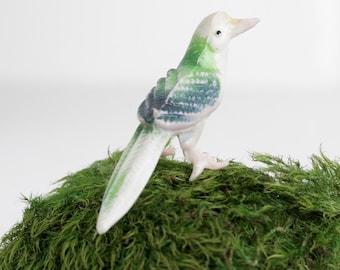 Vintage Miniature Tropical Bird Figurine, Little Bird for Terrarium, Shadowbox or Miniature Animal Collection