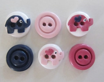 Baby Elephant Buttons ~ Set of 6