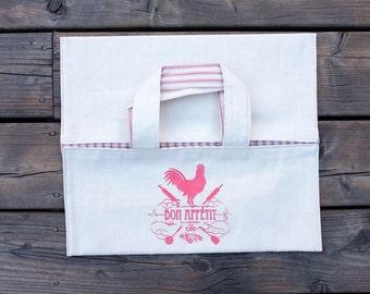 Casserole Carrier - Pie Carrier - Pie Bag - Dish Bag - Pink rooster pie carrier