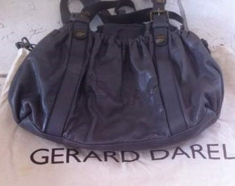 Rare french designer BB shoulder bag by Gerard Darel in grained leather
